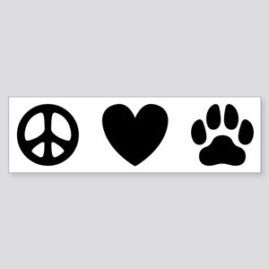 Peace Love Dogs [st b/w] Sticker (Bumper)